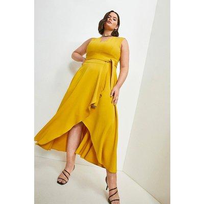 Karen Millen Curve Compact Stretch Viscose Waterfall Dress -, Yellow