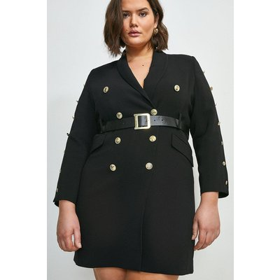 Karen Millen Curve Compact Stretch Viscose Tux Dress -, Black