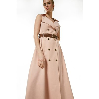 Karen Millen Polished Stretch Wool Blend Full Midi Dress -, Pink
