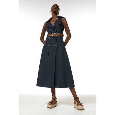 Karen Millen Polished Stretch Wool Blend Full Midi Dress -, Navy