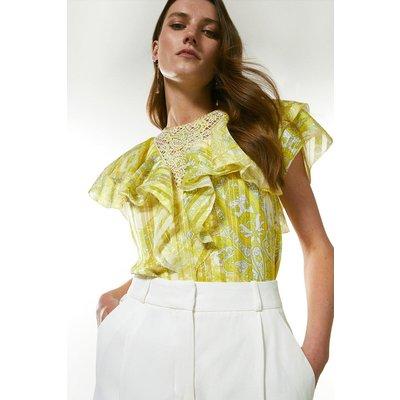 Karen Millen Cutwork Applique Paisley Blouse -, Yellow