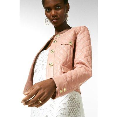 Karen Millen Leather Quilted Trophy Jacket -, Pink