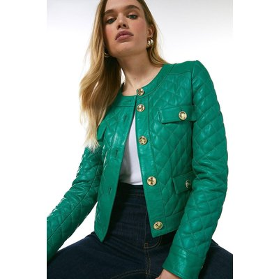 Karen Millen Leather Quilted Trophy Jacket -, Bright Green
