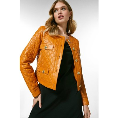 Karen Millen Leather Quilted Trophy Jacket -, Orange