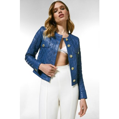 Karen Millen Leather Quilted Trophy Jacket -, Mid Blue