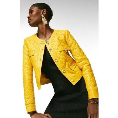Karen Millen Leather Quilted Trophy Jacket -, Yellow