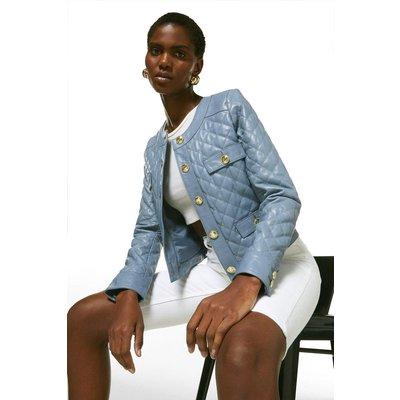 Karen Millen Leather Quilted Trophy Jacket -, Pale Blue