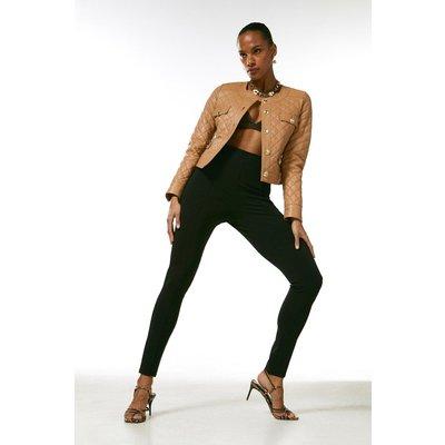 Karen Millen Leather Quilted Trophy Jacket -, Tan