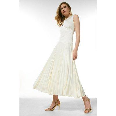 Karen Millen Quilt Satin And Pleat Deep V Midi Dress -, Ivory