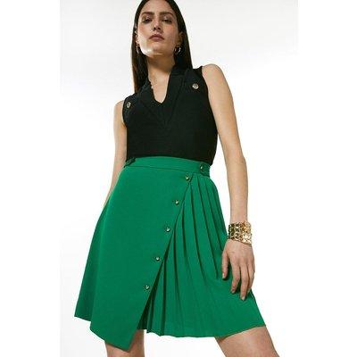 Karen Millen Pleated Detail A Line Skirt -, Green
