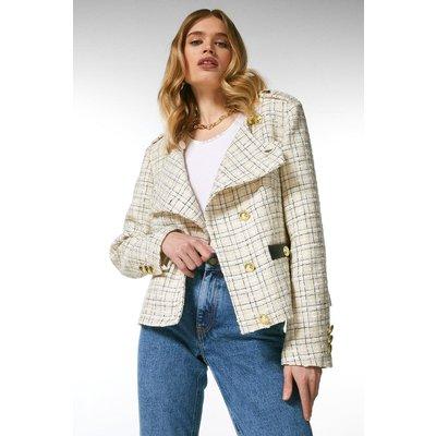 Karen Millen Boucle Military Button Jacket -, Cream