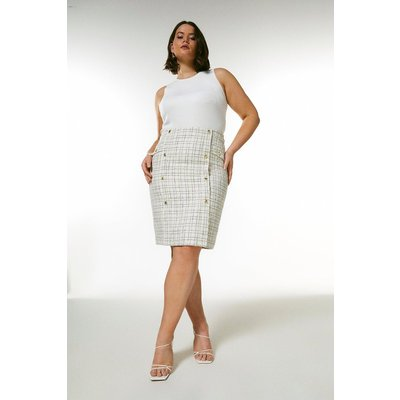 Karen Millen Curve Boucle Military Button Pencil Skirt -, Cream