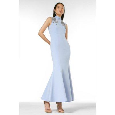 Karen Millen Crystal Embellished Open Back Maxi Dress -, Blue