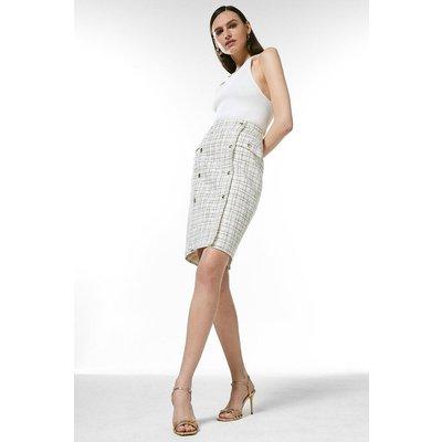 Karen Millen Boucle Military Button Pencil Skirt -, Cream