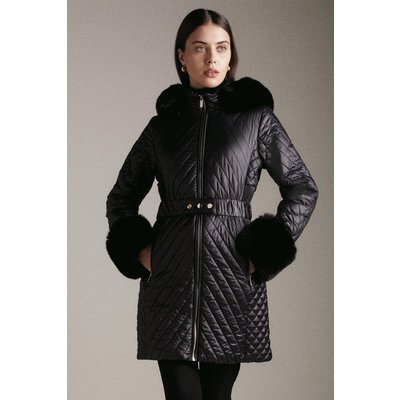 Karen Millen High Shine Faux Fur Cuff Quilted Coat -, Black