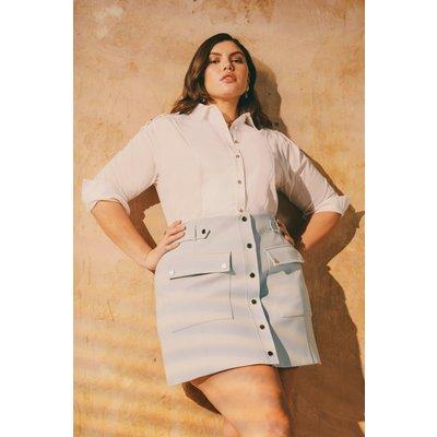 Karen Millen Curve Compact Stretch Popper A Line Skirt -, Pale Blue