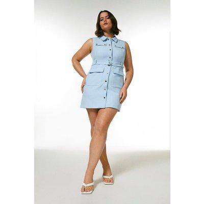 Karen Millen Curve Compact Stretch Popper Detail Dress -, Pale Blue