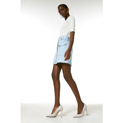 Karen Millen Compact Stretch Popper Detail A Line Skirt -, Pale Blue