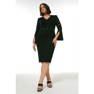 Karen Millen Curve Compact Stretch Viscose Stud Trim Dress -, Black