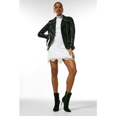 Karen Millen Leather Biker Stitch Belted Jacket -, Black