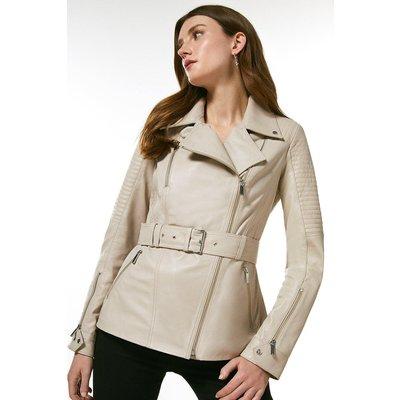 Karen Millen Leather Biker Stitch Belted Jacket -, Nude