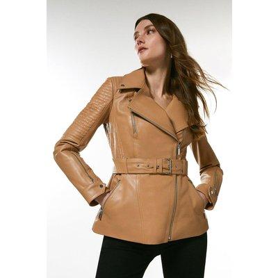 Karen Millen Leather Biker Stitch Belted Jacket -, Tan
