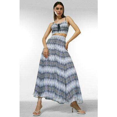 Karen Millen Ikat Border Button Drama Skirt -, Blue