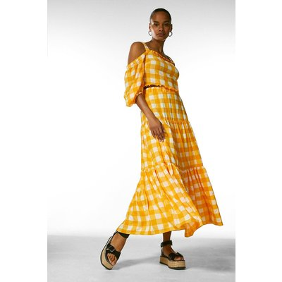 Karen Millen Textured Check Maxi Skirt -, Yellow