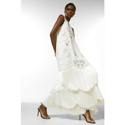 Karen Millen Fringe Detail Hand Embellished Maxi Dress -, Ivory