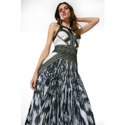 Karen Millen Geo Guipure Lace Printed Pleat Midi Dress -, Ivory