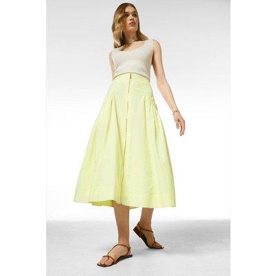 Karen Millen Cotton Poplin Midi Skirt With Pockets -, Green