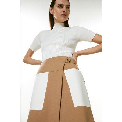 Karen Millen Compact Stretch Contrast Pocket A Line Skirt -, Camel