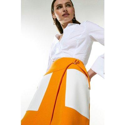Karen Millen Compact Stretch Contrast Pocket A Line Skirt -, Orange