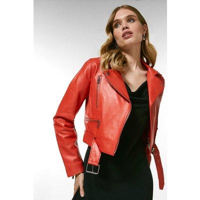 Karen Millen Leather Belted Crop Jacket - Flame Red, Orange