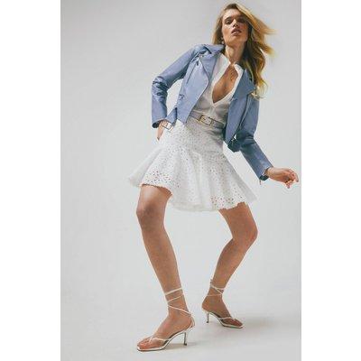 Karen Millen Leather Belted Crop Jacket -, Pale Blue