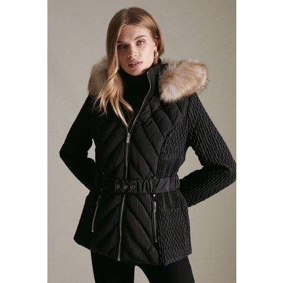 Karen Millen Short Heritage Quilt Faux Fur Trim Hood Coat -, Black