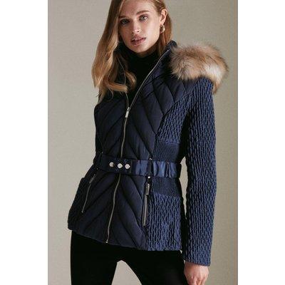 Karen Millen Short Heritage Quilt Faux Fur Trim Hood Coat -, Navy