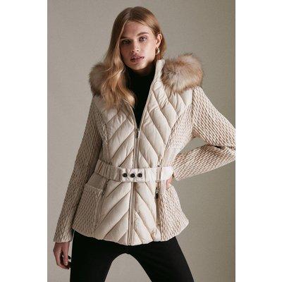 Karen Millen Short Heritage Quilt Faux Fur Trim Hood Coat -, Brown