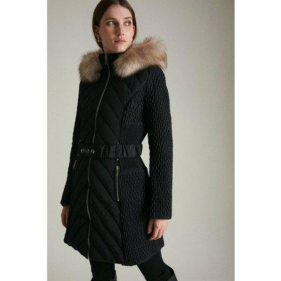 Karen Millen Long Heritage Quilt Faux Fur Trim Hood Coat -, Black