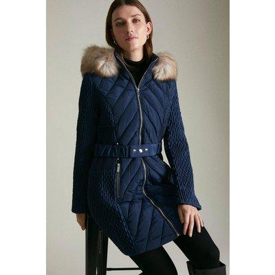 Karen Millen Long Heritage Quilt Faux Fur Trim Hood Coat -, Navy