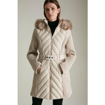 Karen Millen Long Heritage Quilt Faux Fur Trim Hood Coat -, Brown