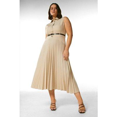 Karen Millen Curve Polished Wool Sleeveless Pleat Dress -, Brown