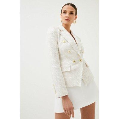 Karen Millen Sparkle Tweed Military Blazer -, Ivory