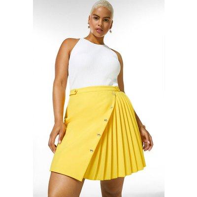 Karen Millen Curve Compact Stretch Multi Button Skirt -, Yellow