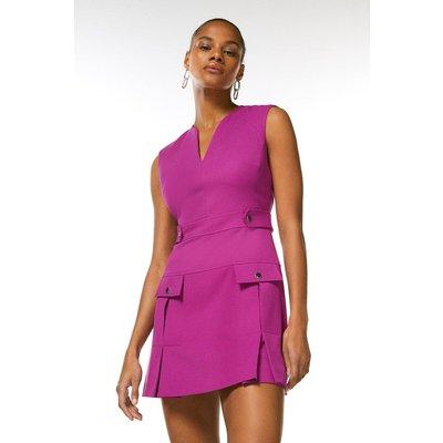 Karen Millen Structured Crepe Pleat And Popper Dress -, Purple