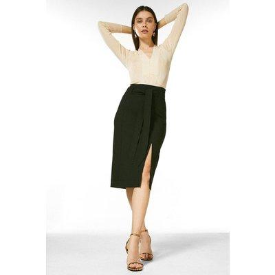Karen Millen Structured Stretch Tie Belt Skirt -, Black