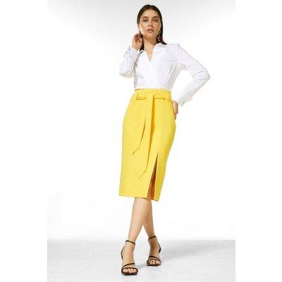 Karen Millen Structured Stretch Tie Belt Skirt -, Yellow