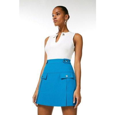 Karen Millen Structured Crepe Pleat And Popper Skirt -, Turquoise