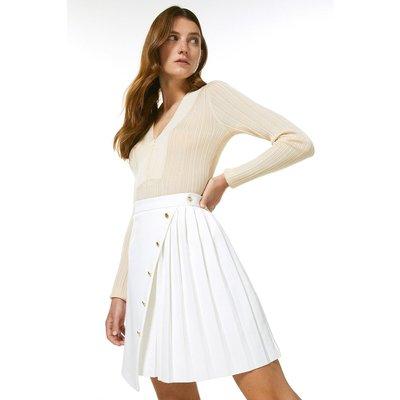 Karen Millen Structured Stretch Multi Button Skirt -, Ivory