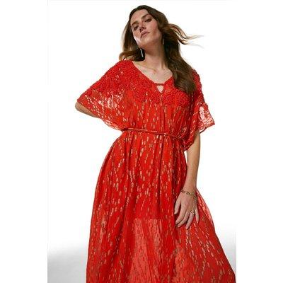 Karen Millen Bead Embellished Woven Kaftan -, Red